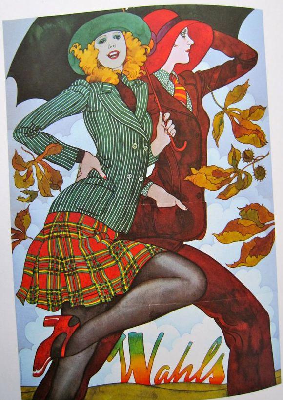 Fashion illustration by Jane Bark, 1971, Wahls 70s suit jacket skirt plaid stripes green red hat shoes color biba like