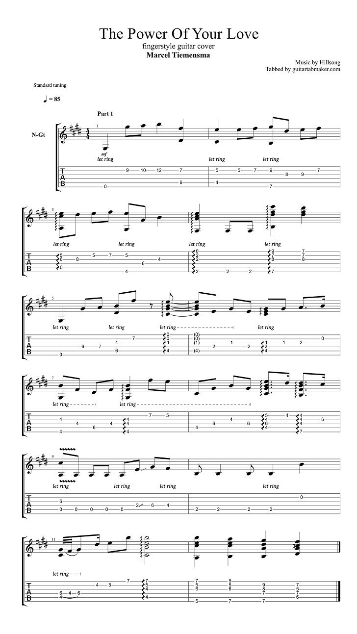 The Power Of Your Love Tab Guitar Tabs Fingerstyle Guitar Power Of Your Love
