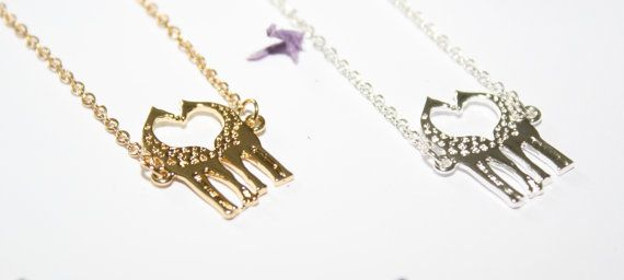 Mini charm necklace featuring a cute little giraffes charm  Available in either gold plated or silver plated, this sweet little necklace is