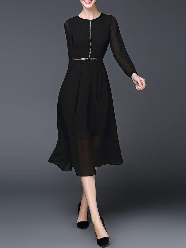 GYALWANA Black Crew Neck Pierced Work Polyester Midi Dress