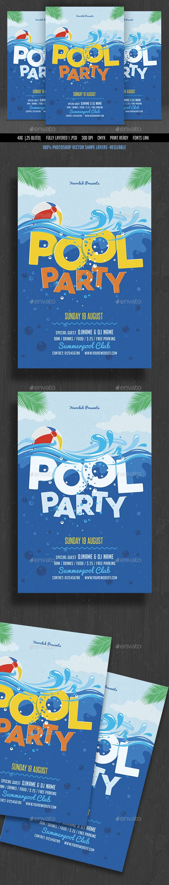 Pool Party Flyer Template PSD. Download here: http://graphicriver.net/item/pool-party-flyer/16592160?ref=ksioks