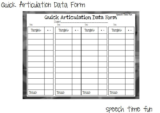 Speech Time Fun: Quick Articulation Data Forms!  (ideas and a freeb...