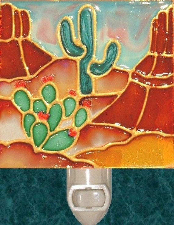 Arizona Red Rock Cactus Desert Night Light Decorative Southwestern Desert Artwork and Southwest Stained Glass Cactus Art