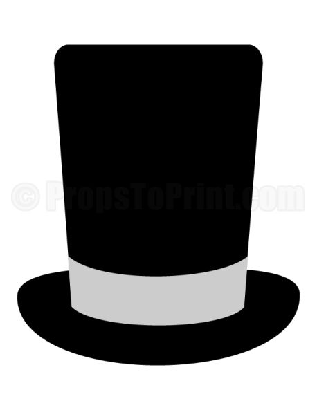 Printable top hat photo booth prop. Create DIY props with our free PDF template at http://propstoprint.com/download/top-hat-photo-booth-prop/