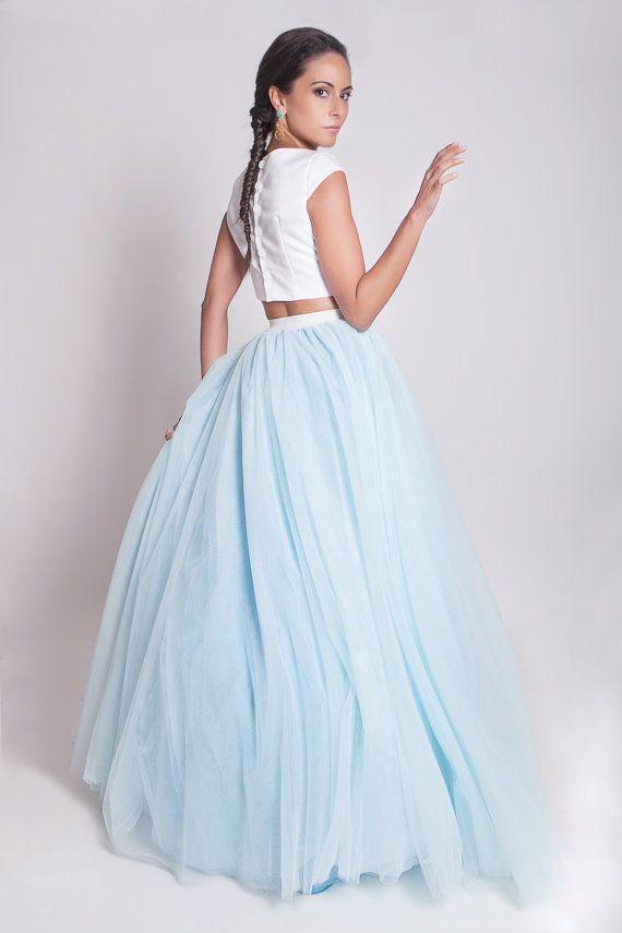 Sky blue floor length tulle skirt 50s tulle by ElaSiromascenko