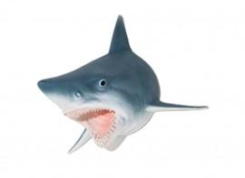 Shark- Haai muurdecoratie.  Deco Head Shark.    Geweldige haaienkop als troffee aan de muur. Levensecht en als mascotte een musthave voor de kantine in de jachthaven of surfschool.  Deze Jaws, haaienkop is eenvoudig aan de muur te bevestigen.  Sharks!