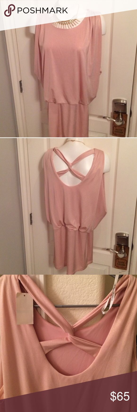 👛 Flirty Rose Gold Dress 👛 Fully lined mini dress, flirty and playful with criss cross back, comfortable fit made of Polyester & Spandex 🎀 Great Fit for US 8/10 B Darlin Dresses Mini