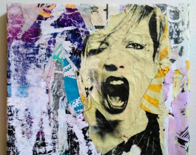 'Oh Shirley' 2016 Decollage on canvas. Browse unique items from PansArtPdx on Etsy, a global marketplace of handmade, vintage and creative goods.