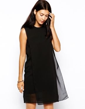 €103, Vestido Casual de Gasa Negro de Cheap Monday. De Asos. Detalles: https://lookastic.com/women/shop_items/76723/redirect