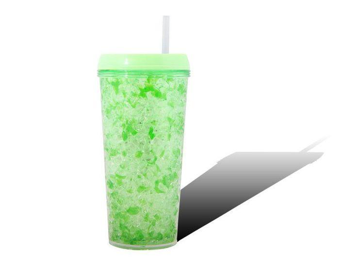 Iced Gel Travel Cup Freeze Frosty Jelly Lid Mug W/ Straw Green