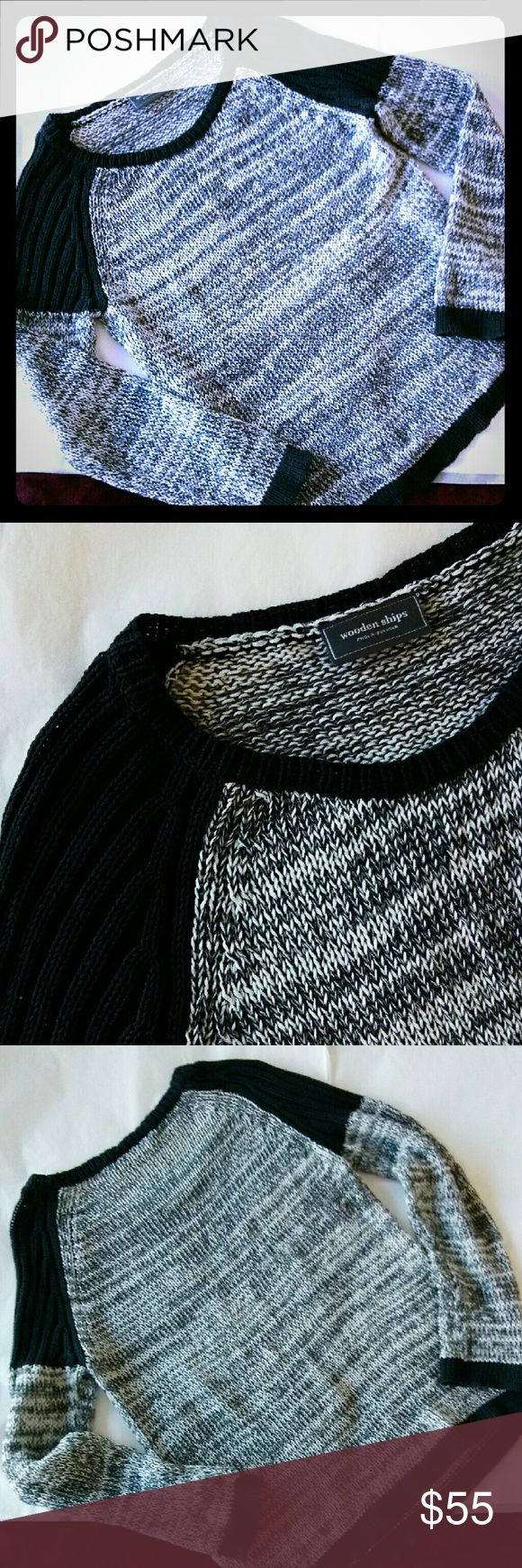 Wooden Ships Black Gray White Marled Sweater {Details coming soon..!} [7002] Anthropologie Sweaters Crew & Scoop Necks