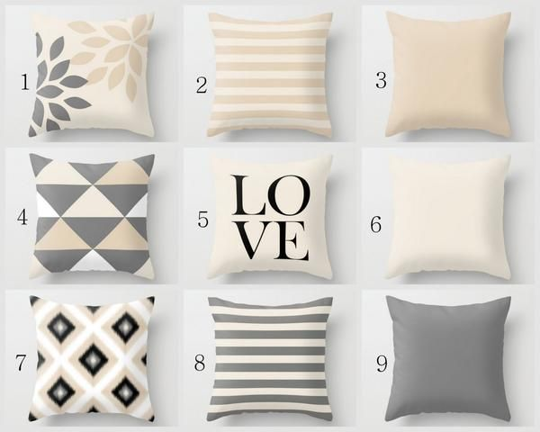 """Neutral Throw Pillow Covers, Beige Grey Black, 16"""" 18"""" 20"""" 26"""""""