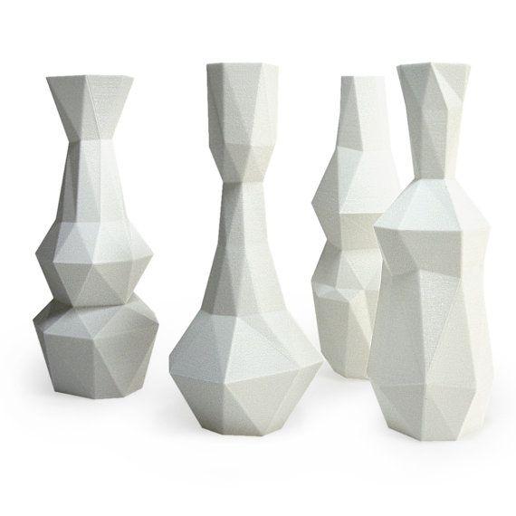 White Vases Cubist 3D Printed Vase Set modern decor by MeshCloud