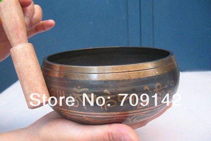 Йога Азии Необычное Тибетский Бронзовый Диаметр 4 Китайский тибет серебро бронза пение чаши Antique мужская чаши