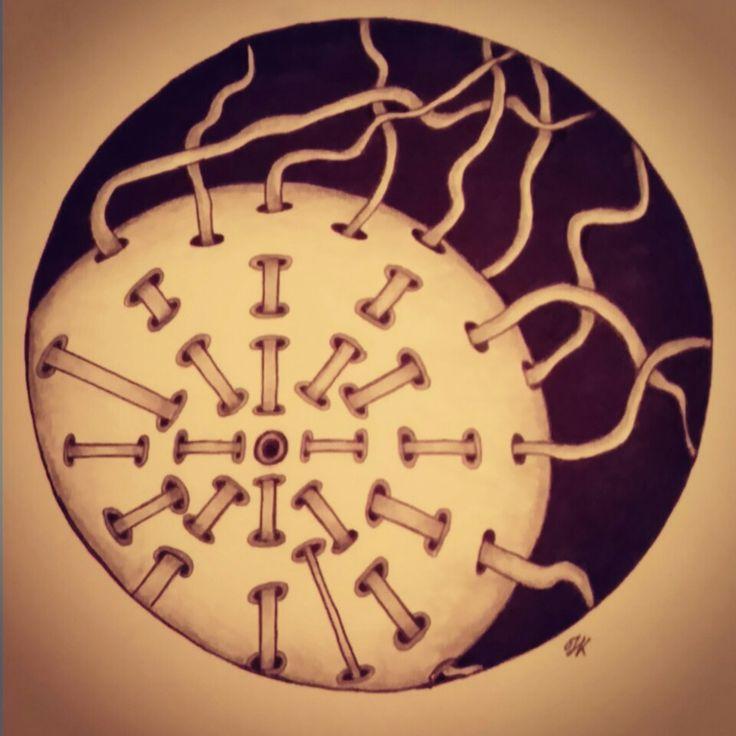 """""""peepholes 5"""" zentangle art"""