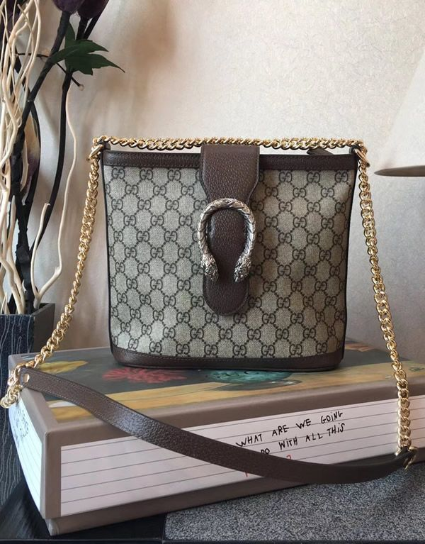 a2e88205ed76 Gucci GG Supreme Dionysus medium bucket bag with Brown Leather. #Gucci  #GucciHandbags #BucketBag #GucciDionysus