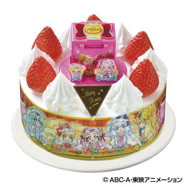 キャラデコクリスマス hugっと プリキュア ホイップクリーム ピーチとパインを サンドしたケーキです クリスマスパーティーメニュー クリスマスケーキ キャラクターケーキ