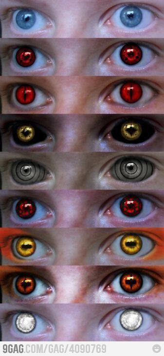 Behold, Naruto fans! Contacts! My brother has a pair of sharingan contacts. Pretty awsome, with everything red hued. His right started bleeding one time....creepy/