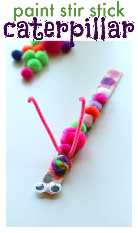 Use up those extra paint stir sticks and make a fun caterpillar craft!