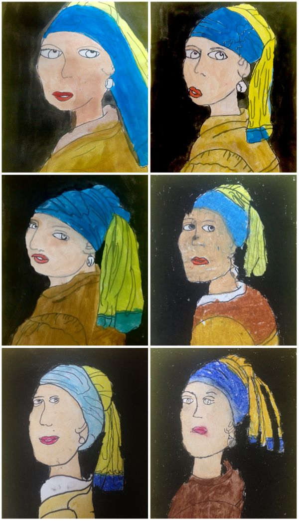 "Vermeer for kids, art project ""the girl with the pearl earring"" ""la joven de la perla"" Vermeer para niños"