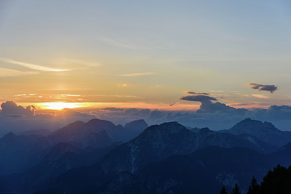 Sunset Over The Mountains. Julian Alps
