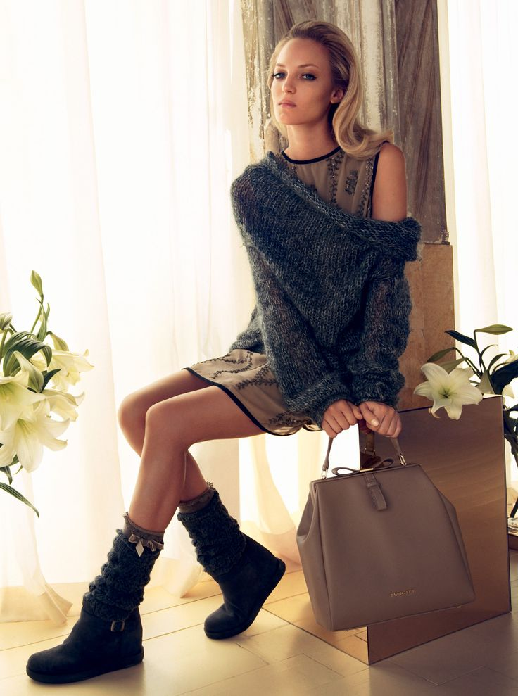 TWIN-SET Simona Barbieri: Long sweater with cowl neck, sleeveless dress in crepe with sequin embroidery, bag with handle and bow and boot with internal wedge and knitted leg