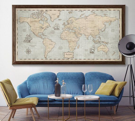 Extra Large World Map Wall Art, Personalized map ...