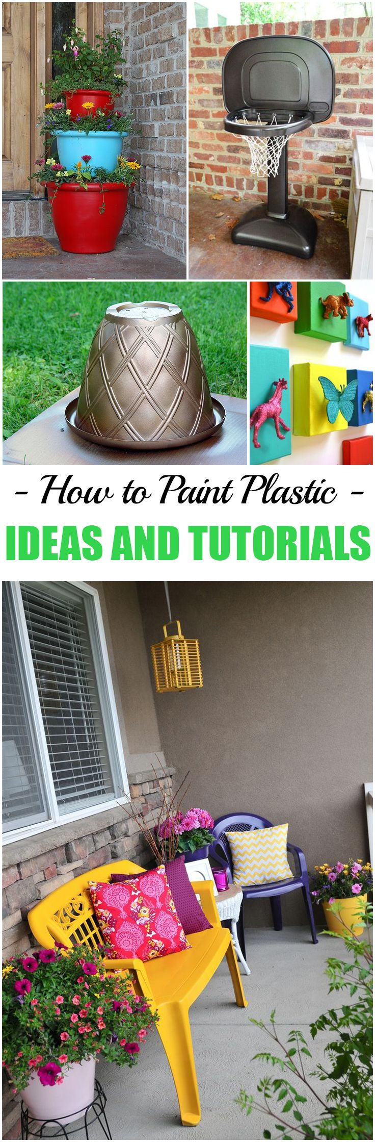 How to Paint Plastic. Fun ideas and tutorials for painting old furniture, plastic toys and more!
