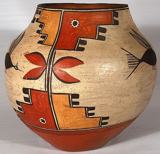 Zia Pueblo Four-color Polychrome Olla  C3134A-jar.jpg + Add to my watchlist         It is always exciting to acquire pottery that has been photographically documented in the early 20th century along with the potter.  That is the situation here with this wonderful Zia olla.  It was photographed around 1935 by Frasher of Pomono, California.  We are including a copy of the photograph in this write-up.  The jar is situated in the lower left corner of the photograph.         Zia Pueblo…