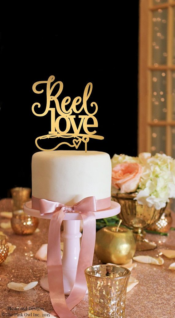 Wedding Cake Topper  Fishing Wedding Cake by ThePinkOwlGifts