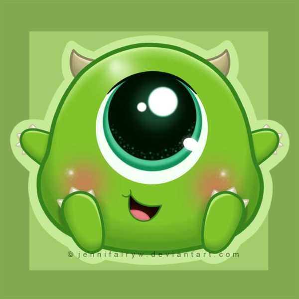 Chibi Mike Wazowski by Jennifairyw.deviantart.com on @deviantART