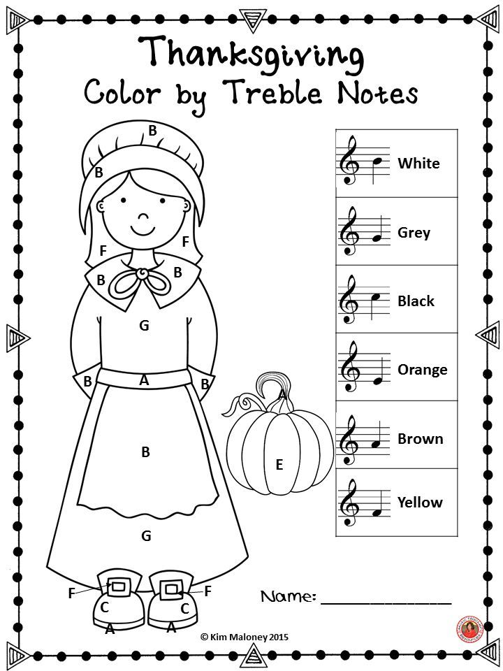 Thanksgiving Music Activities: 30 Color by Music Symbol
