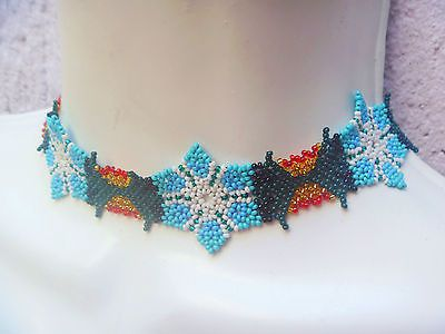 HUICHOL колье ожерелье из бисера пейот многоцветная МЕКСИКАНСКОЕ НАРОДНОЕ ИСКУССТВО цветок