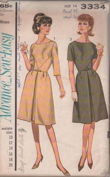MOMSPatterns Vintage Sewing Patterns - Advance 3334 Vintage 60's Sewing Pattern CHARMING Sew Easy Mad Men Bodice Seam Interest, Front Pleated LBD, Cocktail Party Dress