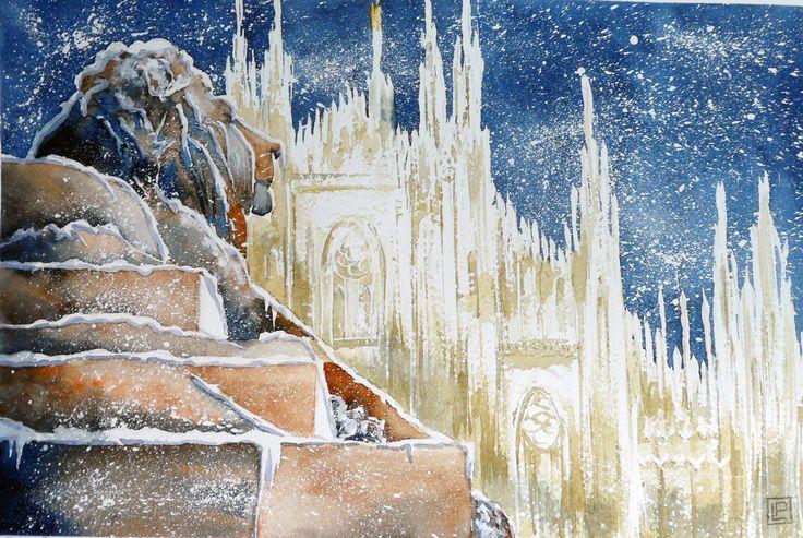 """""""il duomo e il leone  """" acquerello 30x45 di Lorenza Pasquali Paintings www.lorenzapasquali.it Copyright © Lorenza Pasquali -"""