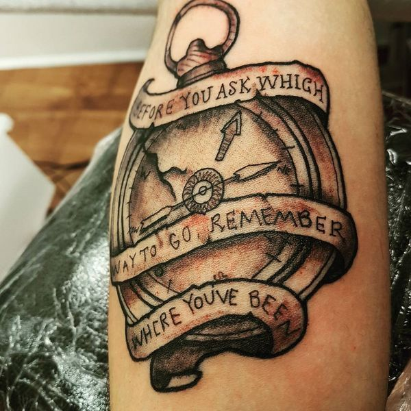Broken Compass Tattoo With Ribbon For Men Compass Tattoo Men Tattoos For Guys Compass Tattoo