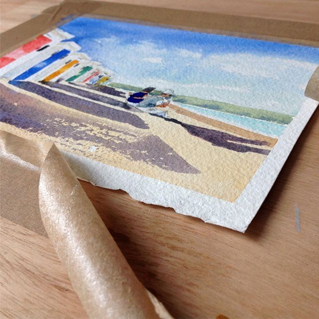 """""""Just Me and You"""" today's #watercolour #tapepuller #woolacombe #beach #beachhuts #coastalart #beachhouseart #instaart #coast #october #indiansummer #passionfornature #seasidehomes"""