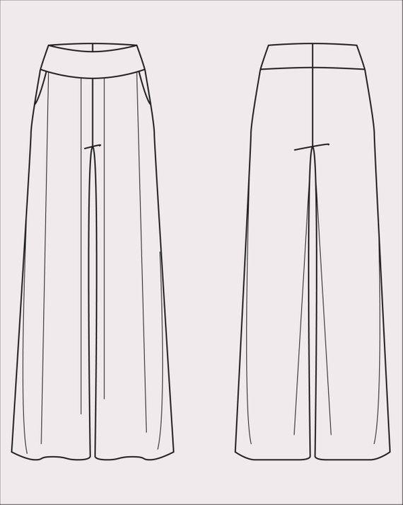 Wide Leg Pants Pattern Women S Pdf Sewing Pattern Pant