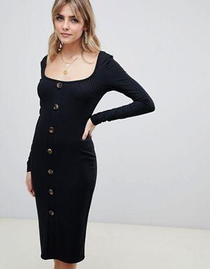 7346fddad91 Boohoo bodycon rib button down midi dress in black