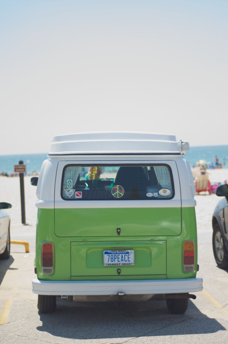 Lime green vw bus and the beach