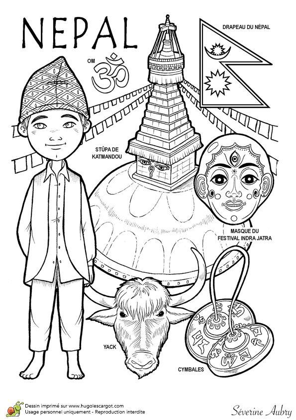 Dessin à colorier d'un pays du Monde, le Népal - Hugolescargot.com