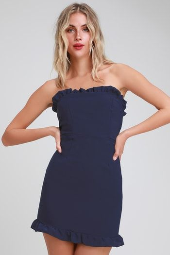 6cf1139e7bfa Leeanne Navy Blue Strapless Ruffled Bodycon Dress