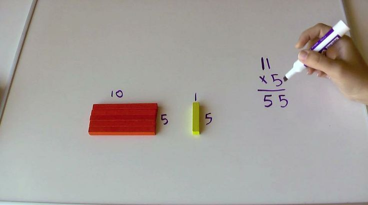 Traditional Multiplication algorithm using cuisinaire rods.