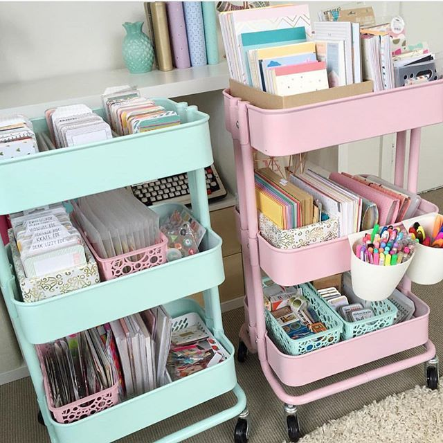 "Reposting this so I can answer the many questions I get asked about these carts: These are the RASKOG carts from IKEA😄. I spray painted them AFTER they were assembled :) I used the rustoleum paint in ""ocean mist"" for the mint and plastikote paint in ""cameo pink"" for the pink cart. I also spray painted some plastic containers to match using a plastic primer beforehand. If there are anymore questions please let me know 😘😘😘"