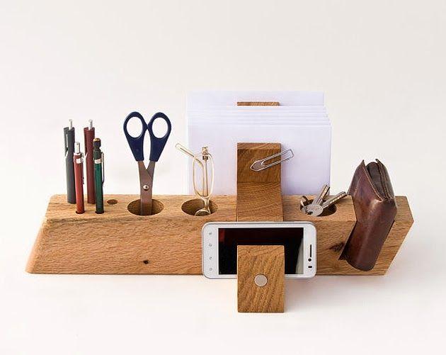 wooden desk organizer.