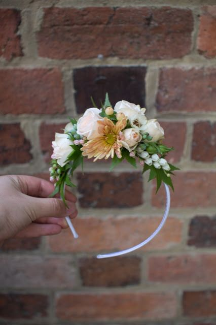 Naomi Rose Floral Design {Melbourne wedding} flower girls head band, floral head piece, flowers, peach, apricot, green, grey, white, teal