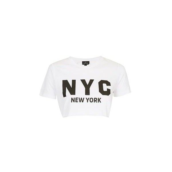 TopShop Petite New York Crop Tee ($20) ❤ liked on Polyvore featuring tops, t-shirts, crop top, white, cotton tee, cotton t shirts, white tee, short sleeve tee and white t shirt