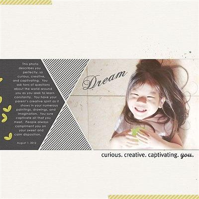 """Dream"" by kym, as seen in the Club CK Idea Galleries. #scrapbook #scrapbooking #creatingkeepsakes"
