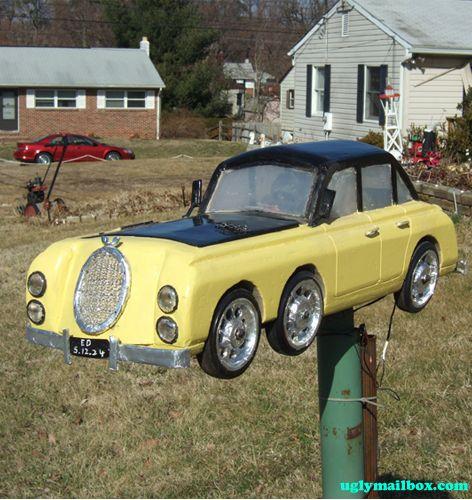 Yellow Car Mailbox
