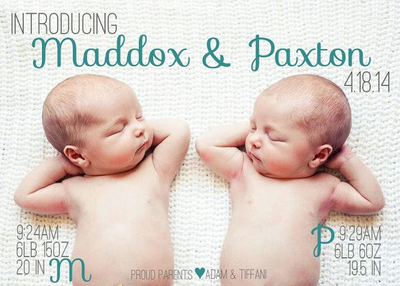 twin birth announcement back of card design by thedarlingdesignco